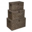 baúl de madera oasis x3, marrón