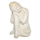 Boeddha keramiek zittend wit h21, wit