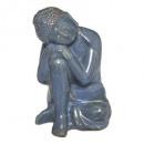 Buddha ceram sentado azul h21, azul