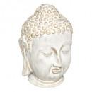 Boeddha hoofd keramiek wit h25, wit