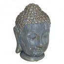 Boeddha hoofd keramiek blauw h25, blauw