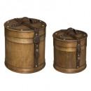 ronde houten kist x2, bruin