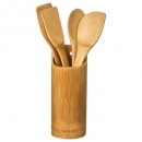 utensil x4 + bamboo pot, colorless