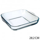 plat vierkant glas 29cm, transparant
