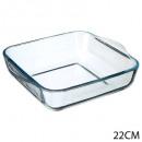 flat square glass 22cm, transparent