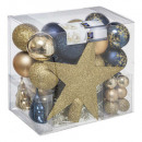 Christmas ball kit 44 pieces blue gold