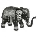 Elefant schwarz / silber pm h.12.5, schwarz