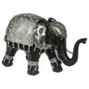Elefant schwarz / silber gm h.18, mehrfarbig