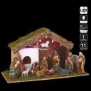 cuna de navidad led 11 santons 5 led h24.5