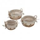 cestas de mimbre 3 formas / tamaños, beige