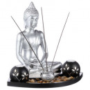 candle holder + Buddha s / gm tray, multicolored