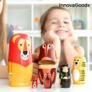 Poupée russe en bois avec figurines d'animaux Funi