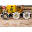 groothandel Armbandhorloges: Mechanische klok,  zwart, bruin lederen band, wit,