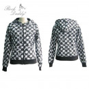 wholesale Coats & Jackets: Jacket with hood  with black / white puzzle pattern