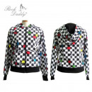 wholesale Coats & Jackets: Jacket with hood  with black / white colorful puzzl