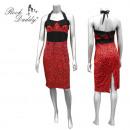 wholesale Skirts: Leo dress in red /  black, Neckholderkleid