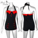 Pin Up Bikini  retro dark blue with red buttons