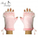wholesale Gloves: Fingerless gloves with fur in pink