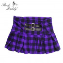 wholesale Skirts: Checked mini skirt in black / purple