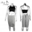 wholesale Skirts: Skirt with skull  and stripes in white / black