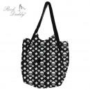 ingrosso Borse & Viaggi: Shopping bag in  nero con teschi bianchi,