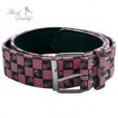 Großhandel Röcke: Gürtel in Karo  schwarz/pink mit Totenköpfen