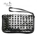 ingrosso Borse & Viaggi: Cosmetic bag in  argento e nero con rivetti