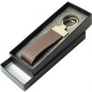 cuir véritable porte-clés avec boîte cadeau brun