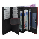 wholesale Wallets: Noble large Damenbörse - many pockets - black / ro