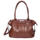 wholesale Handbags: Handbag with flower motif embossed - dark ...