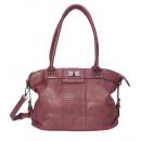 Großhandel Handtaschen: dariya® Handtasche mit Blumenmotiv Prägung - dunkl