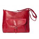 Shoulder bag with outside pocket - dark red