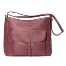wholesale Bags & Travel accessories: Shoulder bag with outside pocket - burgundy