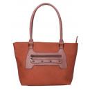 wholesale Handbags: Leisure shoulder bag - cognac with pale brown