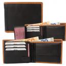 Cowhide double seam wallet black / tan
