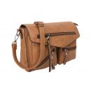 Formstabile Umhängetasche mit zwei Taschen braun