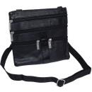Großhandel Handtaschen: Schultertasche /  Brustbeutel Leder - schwarz