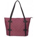 Großhandel Handtaschen: Edler Shopper/Tote Bag - weinrot mit schwarz