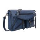 Formstabile Umhängetasche mit zwei Taschen blau