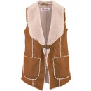 Long Imitation  leather / fur vest brown
