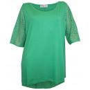 Großhandel Shirts & Tops: Sheego Damen  Longshirt mit Lochmuster grün