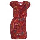 Großhandel Kleider: Kleid bordeaux  bunt Wasserfall Minikleid