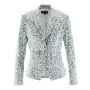 hurtownia Plaszcze & Kurtki: Blazer kurtka  drukowania biały mięta plus size