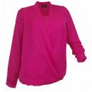 wholesale Shirts & Blouses: Tunic Lagenlook  fuchsia chiffon blouse long sleeve
