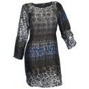 Print dress long  sleeve black colorful