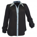 wholesale Shirts & Blouses: Blouse Studs Jean collar black