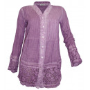 wholesale Fashion & Mode: Long blouse with  embroidery and lace violet