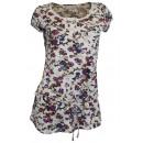 Großhandel Taschen & Reiseartikel: Shirt Blümchen  creme bunt Romantik Longshirt