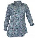 ingrosso Camicie: Fiori Longbluse bianco blu turchese