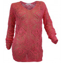 Großhandel Pullover & Sweatshirts: Sheego Damen Häkel Pullover koralle